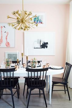 Pink dining room area by Emily Henderson Design Pink Dining Rooms, Dining Room Walls, Dining Room Lighting, Dining Room Design, Table Lighting, Design Table, Mid-century Modern, Modern Decor, Murs Roses