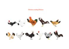 Image of Chickens reading Dickens Card
