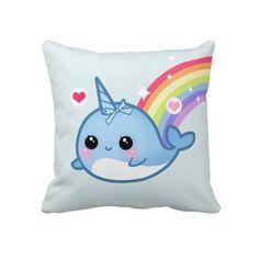 Cute baby narwhal and rainbow pillow.....so Kawaii....♥