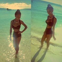 Swimwear: bikini high waist vintage 50's 50s style high waisted bikini highwaisted shorts jewels