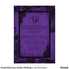 Purple Black Lace Gothic Wedding Invitation Card