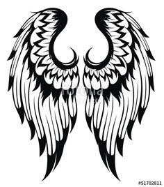 Black wings silhouette . Tattoo design Stock image and royalty-free ...