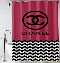 Chevron pink logo chanel Shower Curtain