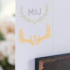 Woodland Wedding Personalized Monogram Antler Rubber Stamp