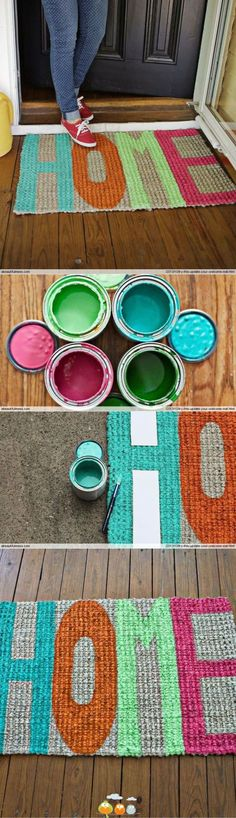 DIY door mat. LOVE this! Cute Crafts, Crafts To Do, Arts And Crafts, Diy Crafts, Handmade Crafts, Handmade Rugs, Handmade Jewelry, Diy Projects To Try, Home Projects