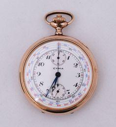 Relógio de bolso marca Cima-Chronometre, 2 (duas) tampas, uma das tampas com guilhoche, mostrador em