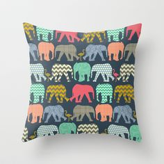 baby+elephants+and+flamingos+Throw+Pillow+by+Sharon+Turner+-+$20.00