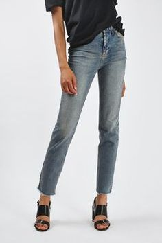 MOTO Raw Hem Straight Leg Jean