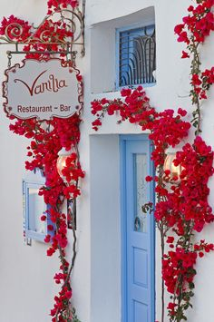 """Vanilla Bar"" in Firostefani, Santorini ~ Greece . Love the red decoration for room or office Santorini Greece, Santorini Island, Store Fronts, Shop Signs, Belle Photo, Dream Vacations, The Places Youll Go, Beautiful Places, Photos"