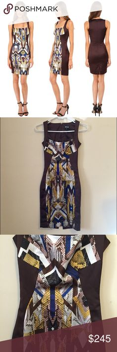 Just Cavalli Sleeveless Panel Dress in Brown Oak Bring style and grace to your wardrobe with the Just Cavalli Sleeveless Front Panel Dress in Oak. Features sheath silhouette, square neckline, back hook and zip closure, and straight hemline.  96% rayon, 4% spandex.   Brand new with tags. Italian size 36. Just Cavalli Dresses Mini