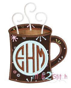 Coffee Mug, Hot Chocolate Cocoa Monogram Applique Frame