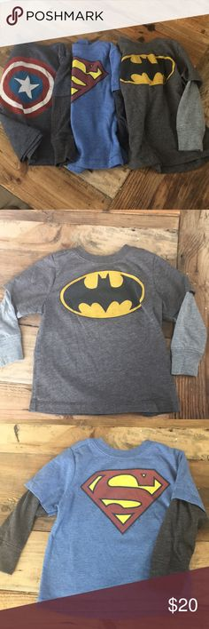 Super Hero Shirts Set of THREE super hero shirts. Batman, Superman, Captain America. All size 12-18 month. Shirts & Tops Tees - Long Sleeve