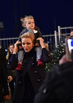 Prince Albert II of Monaco and his wife Princess Charlene and their children Prince Jacquesand Princess Gabriella during the inaugurat...