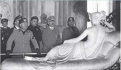 Hitler and Mussolini visiting Canova's sculpture, Paolina Borghese as Venus Victrix in the Galleria Borghese in 1938