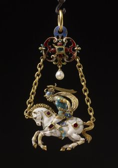 Pendant, 1526-1575, Germany, ruby, pearl, gold, enamel, Height: 7.6 centimetres (max.), Width: 3.8 centimetres (of horse (max.)), Width: 4.2 centimetres (max), Depth: 1.3 centimetres, Weight: 32.07 grammes