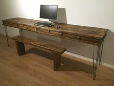 BESPOKE RECLAIMED PINE DESK WITH 4 DRAWERS These are the best quality product you will find and is genuine reclaimed pine. We are a respected seller on who are renowned for our high quality products. Choose from a variety of options. Dimensions 240cm (W) x 60cm (D) x 81cm (H) unit shown; Tudor Oak finish (The price is for the desk only, it does not include the desktop, monitor or bench) THE LEGS Made from 10mm Steel Round bar, Fillet welded to a steel fixing plate with multiple holes...