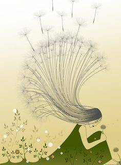 'The Girl with Dandelion Hair' Canvas Print by franzi Millions of unique designs by independent artists. Find your thing. Illustration Photo, Illustrations, Hair Canvas, Theme Nature, Dandelion Art, Design Poster, Poster Designs, Canvas Prints, Art Prints