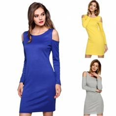 Finejo Women Sexy O-Neck Long Sleeve Off Shoulder Solid Bodycon Stretch Mini Dress
