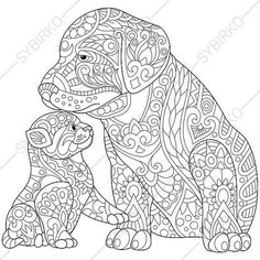 Stock vector of 'Stylized cute friends cat (young kitten) and labrador dog (puppy). Freehand sketch for adult anti stress coloring book page with doodle and zentangle elements. Dog Coloring Page, Animal Coloring Pages, Coloring Book Pages, Printable Coloring Pages, Coloring Sheets, Doodle Coloring, Mandalas Painting, Mandalas Drawing, Mandala Coloring Pages