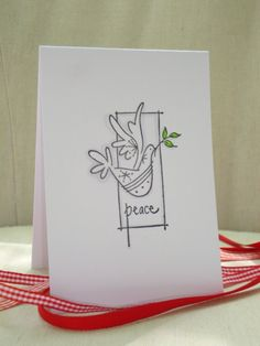Peace Christmas Card Set- Dove with Olive Branch. via Etsy.