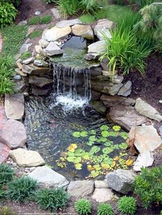 Appealing Small Backyard Ponds And Waterfalls Images Design Inspiration. Landscaping Gallery at Small Backyard Ponds And Waterfalls Small Backyard Ponds, Backyard Water Feature, Backyard Ideas, Backyard Waterfalls, Small Ponds, Small Patio, Ponds With Waterfalls, Backyard Patio, Patio Ideas