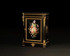 Julien-Nicolas RIVART and Pierre-Joseph GUEROU - Pair of Side Cabinets decorated of bouquets in porcelain marquetry (Reference - Available at Galerie Marc Maison Antique Furniture, Furniture Decor, Second Empire, Cabinet Making, Architectural Antiques, Purple Lilac, Marquetry, Bookcases, Wood Paneling