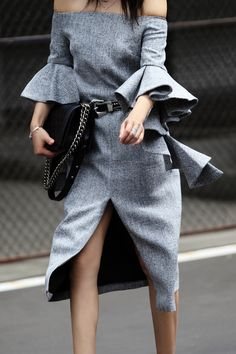 CHICWISH Classy Grey Twill Dress with Frilling Sleeves, Chicwish collaboration, gray dress, frilling sleeves, sleeves style, summer style, girl boss, street style