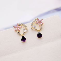 Tiny Crystal in Rose Gold Fill Studs, Pink Tourmaline Crystal Earrings. Raw Rough Pink Crystal and Gold Jewelry - Fine Jewelry Ideas Black Stud Earrings, Emerald Earrings, Green Earrings, Crystal Earrings, Beaded Earrings, Silver Earrings, Antique Earrings, Silver Bracelets, Bridesmaid Earrings