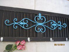 Shabby Chic Shutter Black Hook Aqua Wrought Iron Metal Kitchen Coat Hanger Towel Rack Primitive Wood Wall Decor