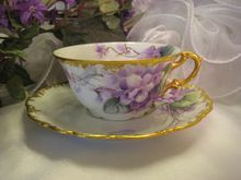 """""""FRENCH AFRICAN PURPLE VIOLETS TEA CUP & SAUCER"""" Antique Limoges France Teacup & Saucer Hand Painted Vintage Victorian Floral Art China Painting 19th Century American China Painter Circa 1900"""