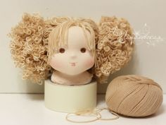 Mid brown poupées viscose wigging cheveux doll house miniature