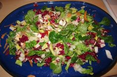 The time I celebrated acquiring that big serving platter (from IKEA) by making a huge salad (definitely more a 4-6 portion salad) - dressing comes from Jamie Oliver's 15-Minute-Meals (Asian style-thing...pack some serious oomph)