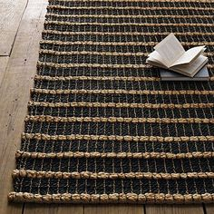 Rope Chain Chunky Jute Rug - Natural/Slate #WestElm.  Perfect for under my dining table.