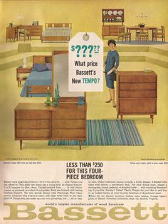"Bassett ""Tempo"" furniture ad from Better Homes and Gardens, February 1962"