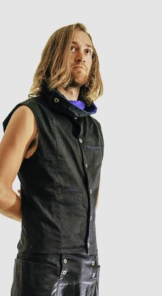 High collared side winding button up vest. Many pockets including secret internal zippered pocket. Available in black with stripe turquoise lining. Modern Mens Fashion, Drop Crotch, Modern Man, Collars, Menswear, Vest, Turquoise, Pockets, Button