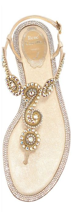 gold crystallized Rene Caovilla sandals for summer
