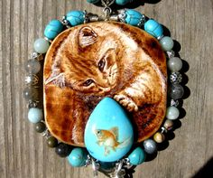 Hand painted stone, rocks with gold fish and hand burned necklace (Turquoise kitty and fish) (CUSTOM-MADE)