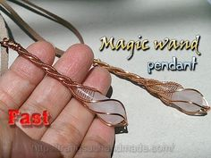 Copper wire Magic wand pendant with drop stone - Fast version 335 - YouTube