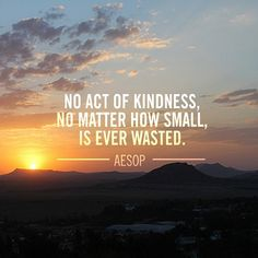 """No act of kindness, no matter how small, is ever wasted."" -Aesop #quote"