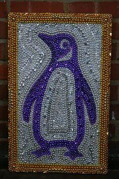 mardi gras beaded penguin art by desertjuan on Etsy, $150.00