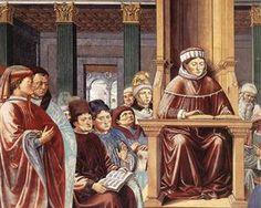 St. Augustine Reading Rhetoric and Philosophy at the School of Rome (detail) - Benozzo Gozzoli... 1464-1465