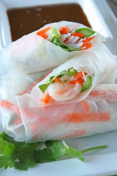 But have had some spring rolls and are delish!Shrimp Spring Rolls with Sweet & Spicy Peanut Dipping Sauce Shrimp Spring Rolls, Fresh Spring Rolls, Shrimp Rolls, Summer Rolls, Peanut Dipping Sauces, Spicy Peanut Sauce, Peanut Butter, Seafood Recipes, Appetizer Recipes