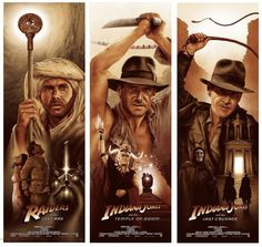 "kogaionon: "" Indiana Jones Trilogy Set by Adam Rabalais / DeviantArt / Facebook / Twitter / Tumblr / Instagram / Etsy / Store 12"" x 36"" 6 color screen prints, signed & numbered edition of 35. Private commission, not for sale. """