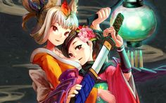 weapons red eyes Momohime anime girls Oboro Muramasa swords Kongiku