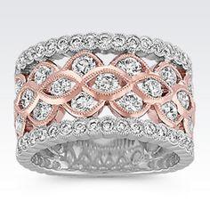 Bezel-Set Round Diamond Ring in 14k Rose and White Gold