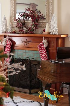 Christmas Decor, Living Room, Mantel, wreath, Christmas Trees, Stockings, Anthropologie, Ornaments, Cottage Decor, Tudor, Antique Piano, Baby Grand Piano