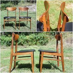 Vintage Pair Mid Century Modern Walnut Dining Chairs Intercontinental Furniture…