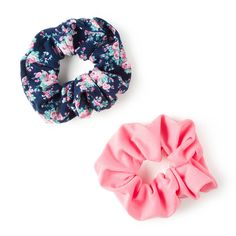 Pink and Floral Print Scrunchies Set of 2