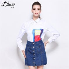 New 2016 Fashion Autumn Office Work 2 Piece Sets Women Cute Preppy Style Long-sleeved Print Blouse and Denim Skirt Suits