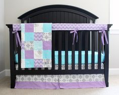 We love this modern, adorable crib bedding from @gigglesix! Purple, aqua and gray are a match made in color heaven.